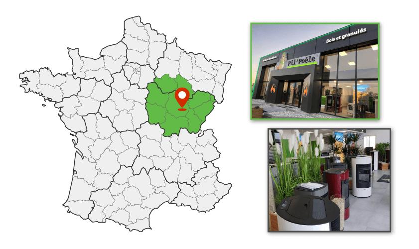 Magasin Pil'Poêle à Dijon , zone commerciale de Quetigny